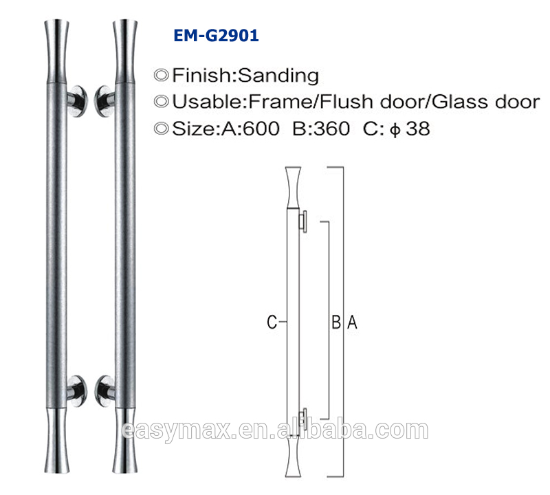 Promotional Online sale glass door use handle with lock SUS304 stainless steel back to H shape round tube made in China