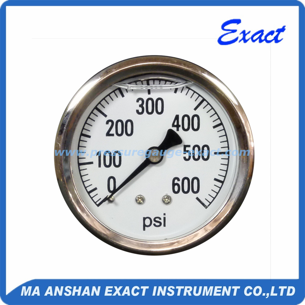 63mm Exact bourdon tube Liquid filled pressure gauge back connection