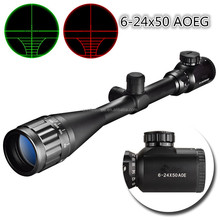 Hunting Rifle Scope 6-24x50 AOE Red and Green Illuminated Crosshair Gun Scope with Free Mount
