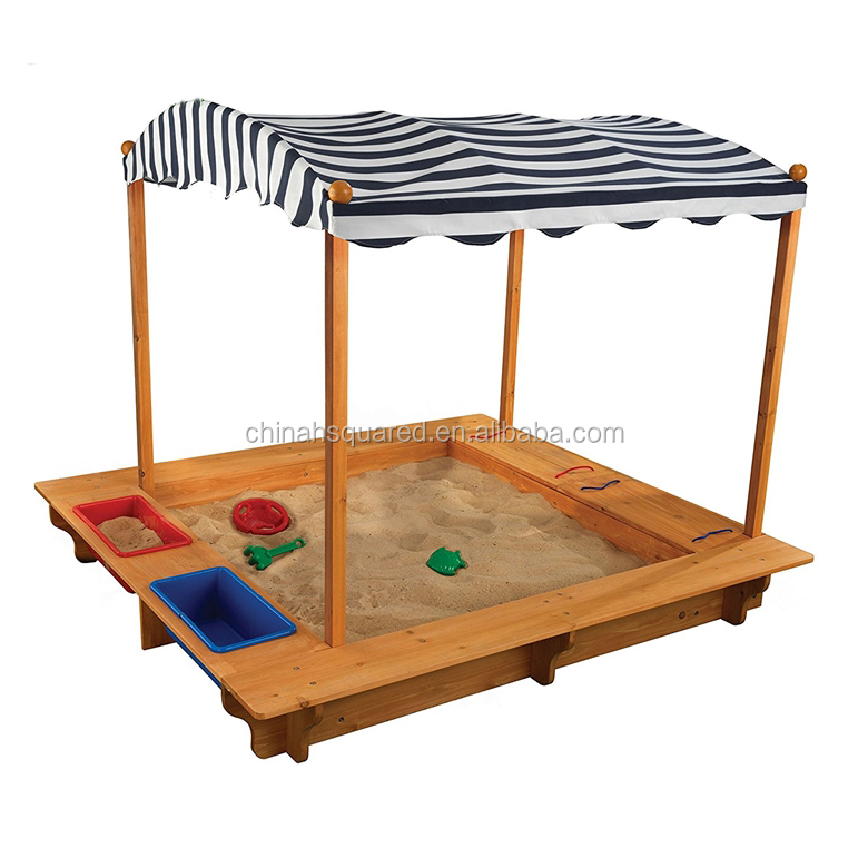 ZPSP6003 Large size children outdoor toy Wooden sandbox sandpit with canopy