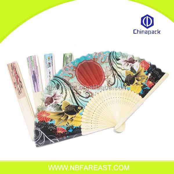 Custom printed round wholesale chinese personalized hand fan