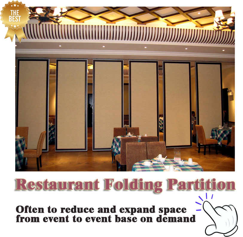 High Quality Aluminum Frame Movable Restaurant Partition for Hotel