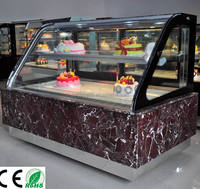 Small Double arc glass display cooler/cake showcase for sale