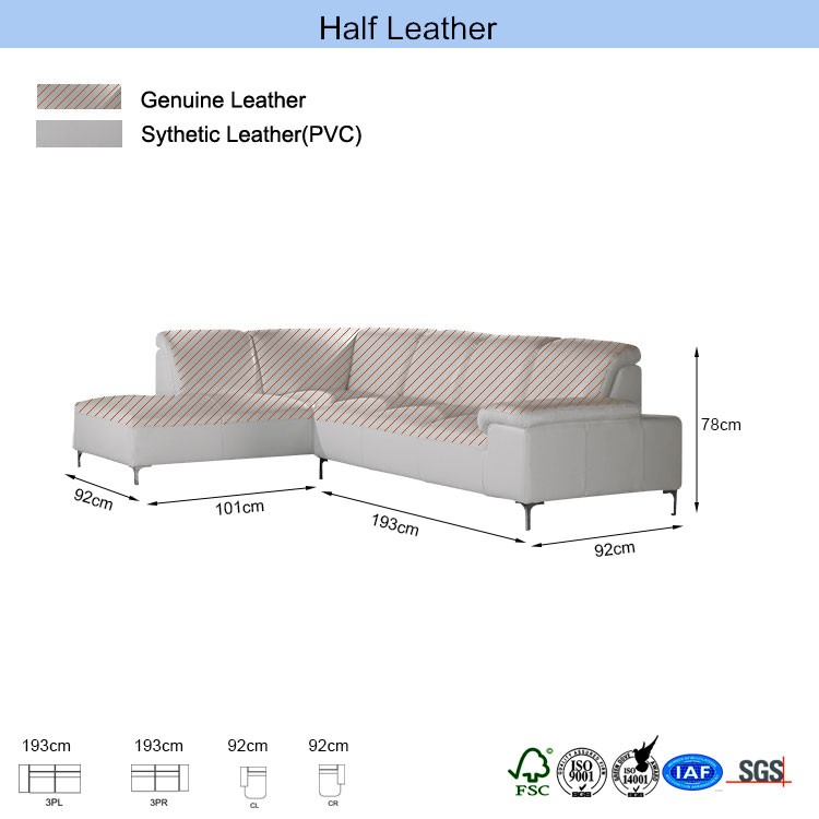Half leather inner springs low back corner sofa