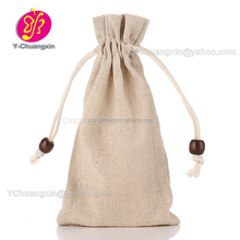 Customized small Drawstring plain linen gift bag for packing