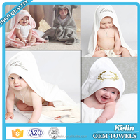 2016 best selling product 75x75cm cotton embroidery logo baby towel bathrobe