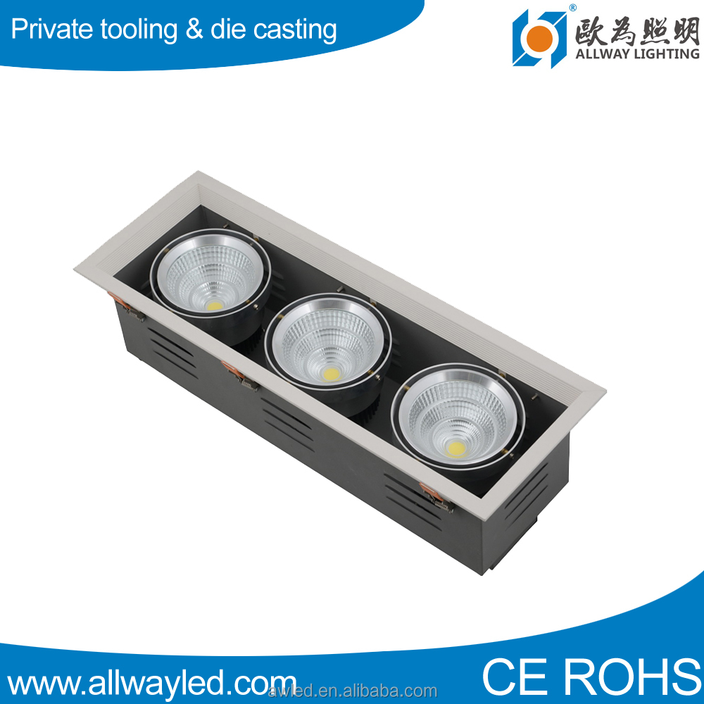 3 Heads rectangular Dimmable 24w cob <strong>Led</strong> Grille Light