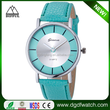 2015 wholesle geneva women arabic hour marks watch with pu leather strap