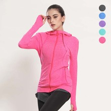 High Quality OEM Wholesale Women Gym Wear Yoga Clothing Zipper Hoodie With Hood