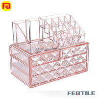 ZCC pink and purple 4 Layers Clear Acrylic Cosmetic Jewelry Organizer Lip Storage Drawers Nail Polish Holder