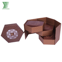 custom design moon cake packaging hexagonal luxury gift mooncake box