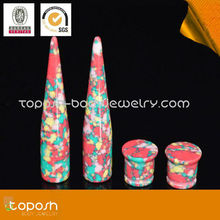 HOT ! Flower printed body jewelry gauges ear plugs and ear tapers