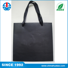Fugang you can customized anything! black paper carry bag with black ribbon handle