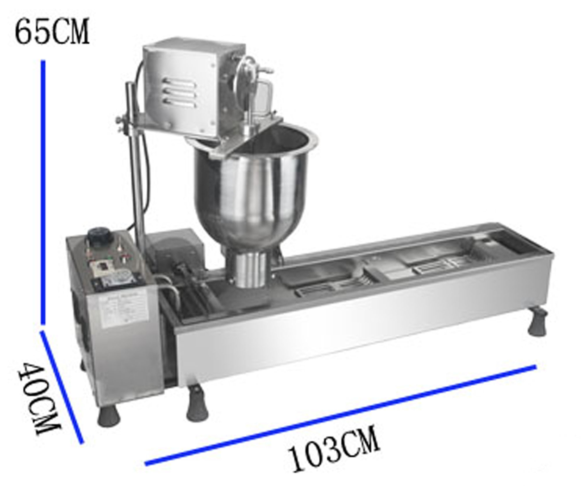 Free shipping 110v USA Commercial Automatic Baked Donut Machine With Wide Oil Tank 3 Sets Mold