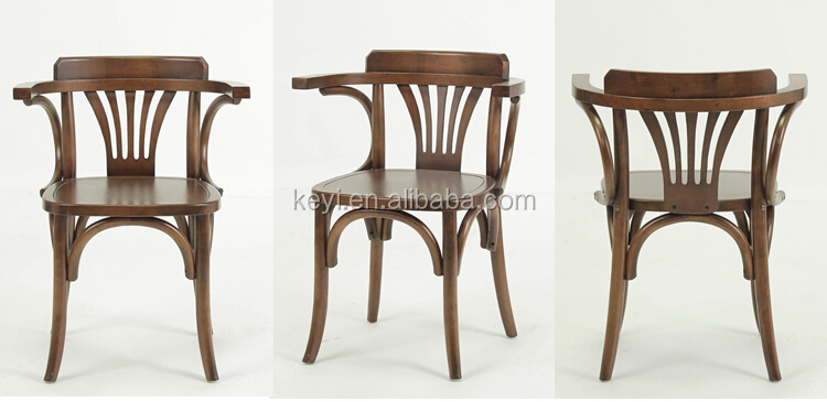 Antique wooden seat Arm dining chair/ Restaurant chair(ZD-136 Wooden seat)