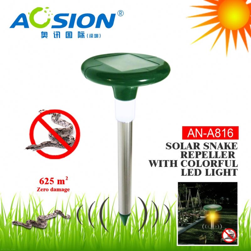 Aosion patent designed IP44 waterproof solar power electronic snake repellent with night light