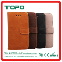 Durable PU Leather Wallet Flip Covers Mobile Leather Phone Accessories Case with card holder For iphone 4