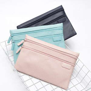 Waterproof Canvas Cosmetic Bag Double Zipper Pencil Bag Wholesale Cosmetic Pouch