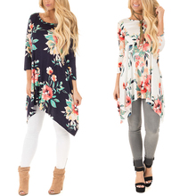 Wholesale 3/4 Sleeve Round Neck Floral Printing T Shirt In Bulk