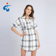 Custom made fancy cotton lady short sleeve check long shirts designs