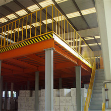 Durable solid steel structure mezzanine racking for industrial storage