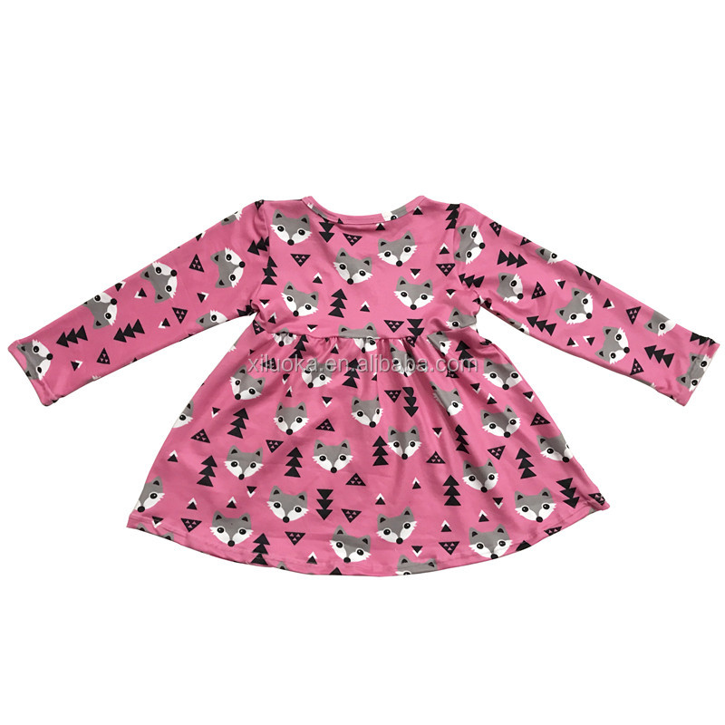 New Style Baby Party Dress Long Sleeve Kids Clothes Baby Breathable Carton Girl Dress