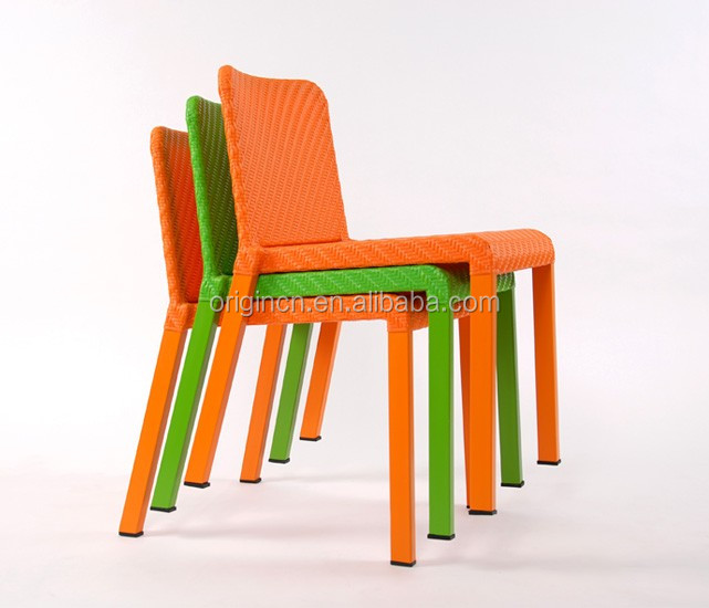 Sporty Bright Color Rattan Backrest Dining Stools With