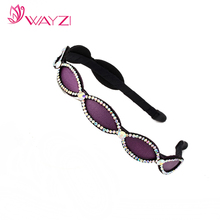 WAYZI brand fashion white rhinestone plastic hair accessories elastic hair band rhinestone hairband for women