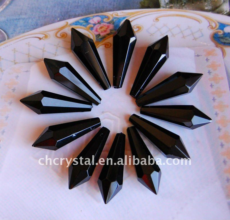 black color crystal parts for chandeliers trimming