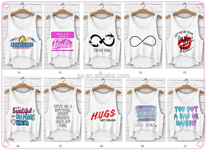Hot sale small quantity ready stock OEM custom logo summer white plain tank top ladies crop top for fashion wear