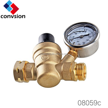 Yuhuan factory Brass Lead-free C46500 for US market One Way Water Pressure regulator valve with Guage