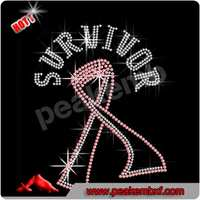 Crystal Pink Ribbon Rhinestone Transfer Survivor Iron on Motif for Clothes