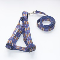 Blue Color Flag Weave on the Collar Fashion Design Dog Harness Leash Set Sell Size Adjustable QS029