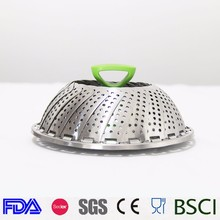 Foldable Stainless Steel Vegetable Steamer Basket Folding Steamer Insert for Veggie Fish Seafood Cooking