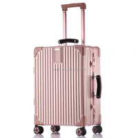 ancient customs leather handle double wheels with full aluminium flame trolley pc luggage