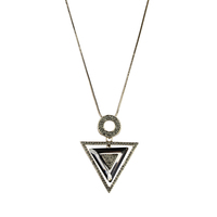 YX0100 2017 Fashionable Women Jewelry Necklace Geometry Triangle Pendant Sterling Silver Necklace