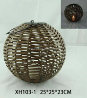Bamboo lantern solar light for home and garden decoration