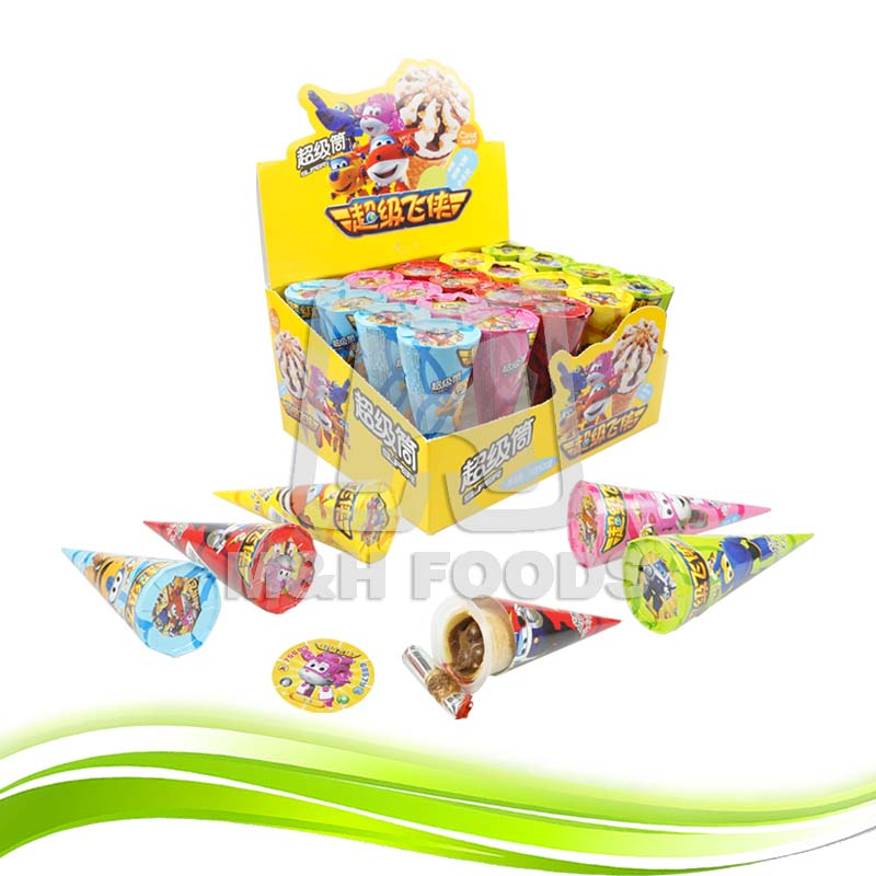 Sweet Ice Cream Shape Crispy Chocolate Cover Cookies with Cartoon Card