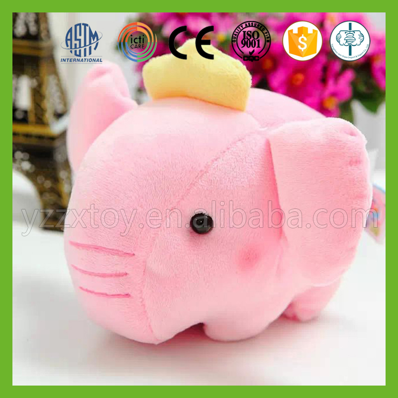 Hot selling lovely mini pink stuffed elephant toy with crown