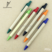 promotion Recycle paper plastic pen with click botton