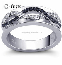 Fashion Infinity Jewelry China Manufacturer, High Quality CZ Smart Two Color Designs Silver Wedding O Ring
