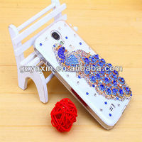 flip case for samsung galaxy s4 active,jewel peacock rhinestone phone case