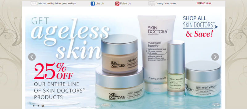 Website selling skin care products