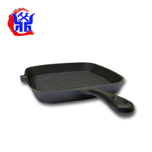 Happy call pan cast iron nonstick panini grill pan with wooden folding handle