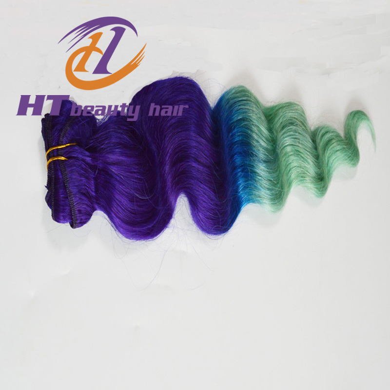 Especial Style Peruvian Loose wave purple , blue & light green