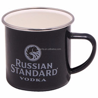 12 oz black brown enamel and stainless steel mug