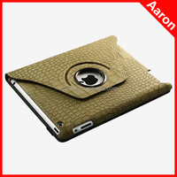 Best seller Alligator pattern 360 degrees rotation leather case for ipad 5