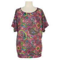 Mid-East Polyester Spandex ITY Printed Old Woman Top Casual Wear