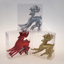 13*14.4cm glitter running deer , 4pcs in pvc box