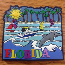 Florida beach landscape tourist gift rubber fridge magnet